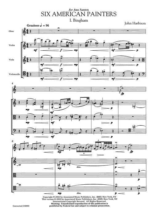 Six American Painters (oboe version) Sheet Music