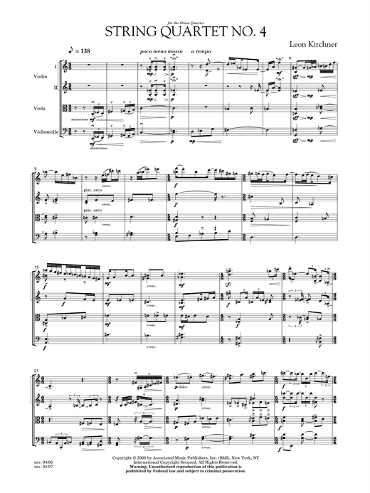 String Quartet No. 4 Sheet Music