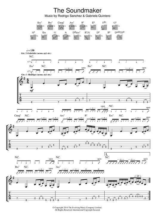 Tablature guitare The Soundmaker de Rodrigo y Gabriela - Tablature Guitare