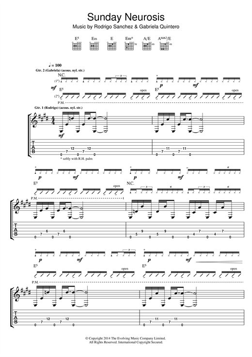 Tablature guitare Sunday Neurosis de Rodrigo y Gabriela - Tablature Guitare
