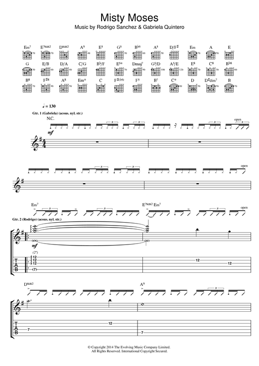 Misty Moses Sheet Music