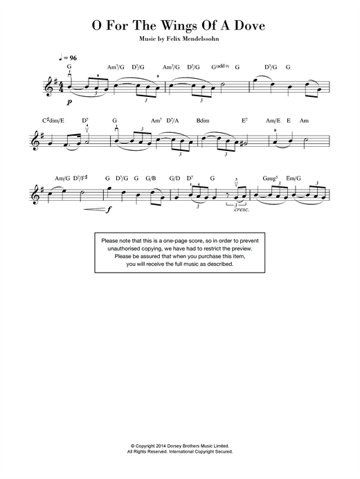 O For The Wings Of A Dove Sheet Music