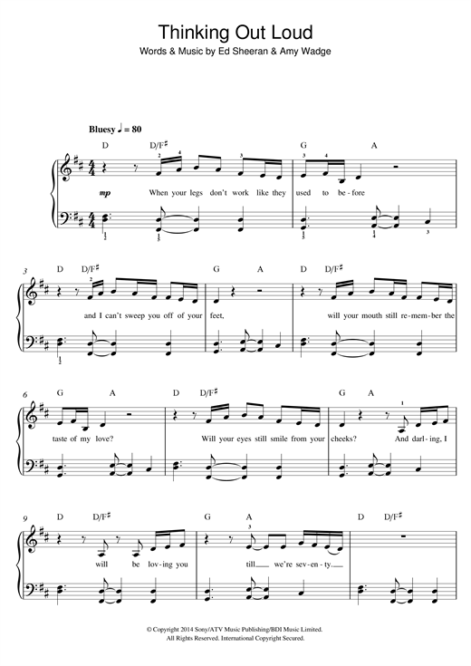 Thinking Out Loud sheet music by Ed Sheeran (Beginner ...