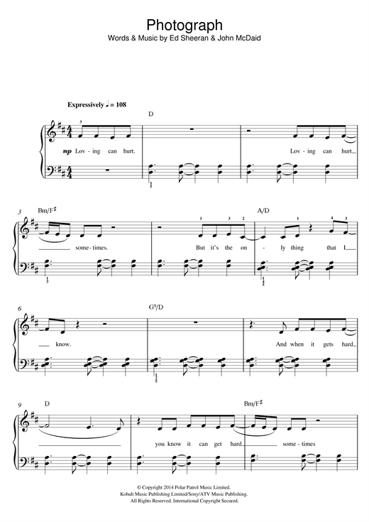 Photograph piano sheet music by Ed Sheeran - Easy Piano