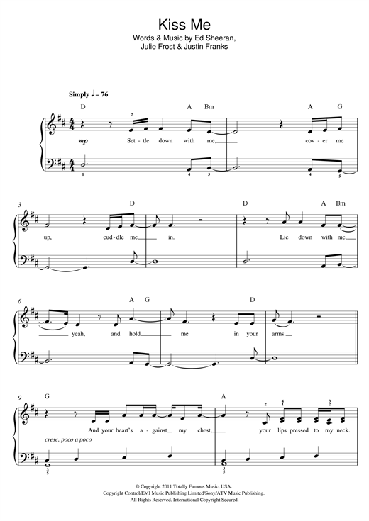 Kiss Me sheet music by Ed Sheeran (Beginner Piano u2013 119254)