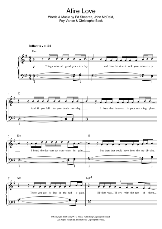 Afire Love sheet music by Ed Sheeran (Beginner Piano – 119283)