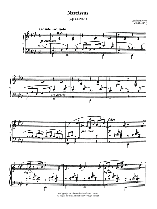 Partition piano Narcissus (Op.13 No.4) de Ethelbert Nevin - Piano Solo