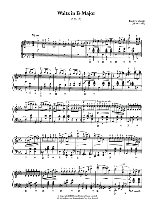 Partition piano Waltz Op.18 (from 'Les Sylphides') de Frederic Chopin - Piano Solo