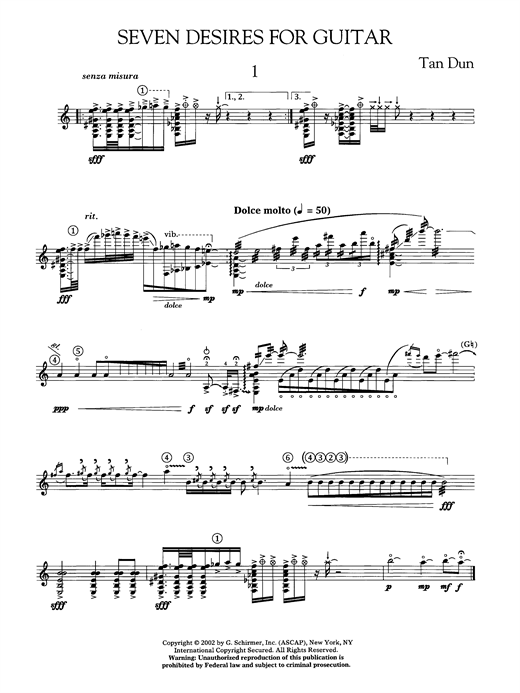 page one of Seven Desires For GuitarASALTTEXT