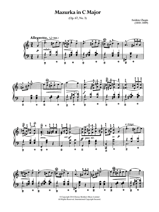 Partition piano Mazurka In C Major, Op.67 No.3 de Frederic Chopin - Piano Solo