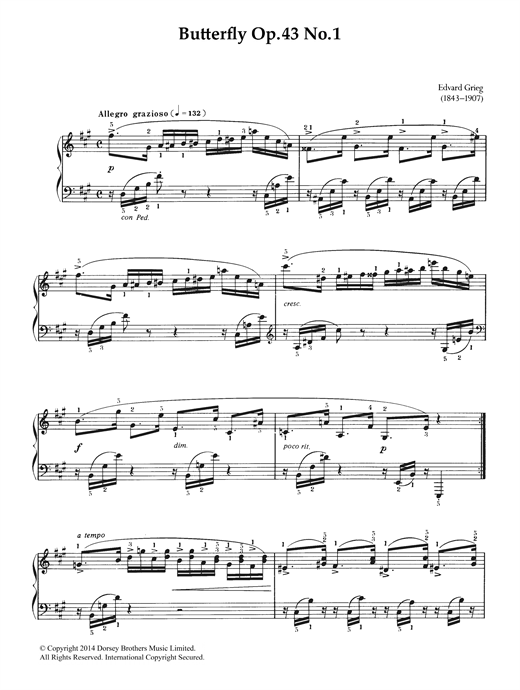 Partition piano Butterfly (from 'Lyric Pieces Op. 43') de Edvard Grieg - Piano Solo