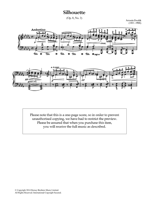 Silhouette, Op.8 No.2 Sheet Music