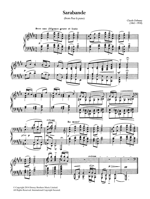 Sarabande From Pour Le Piano Sheet Music By Claude