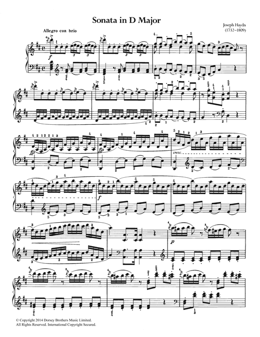 Partition piano Sonata In D Major de Franz Joseph Haydn - Piano Solo