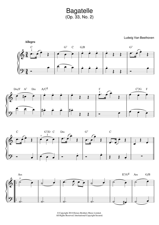 Bagatelle In C Major, Op.33, No.2 Sheet Music