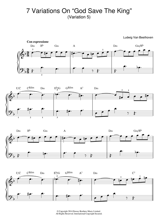Partition piano Variation No.5 (From '7 Variations On God Save The King' WoO 78) de Ludwig van Beethoven - Piano Facile
