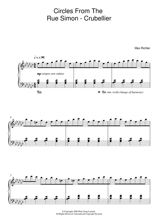 Partition piano Circles From The Rue Simon-Crubellier de Max Richter - Piano Solo