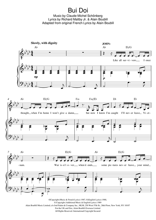 Bui-Doi (from Miss Saigon) Sheet Music