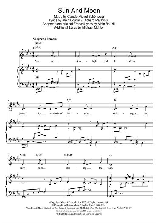 Sun And Moon Sheet Music