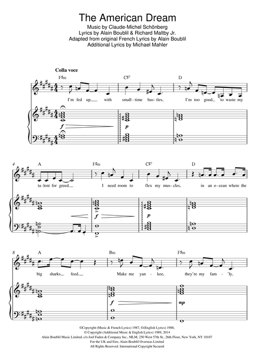 The American Dream (from Miss Saigon) Sheet Music