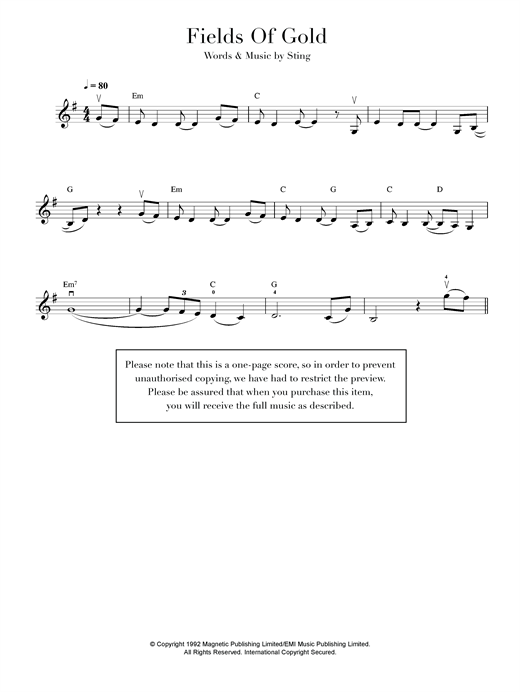 Fields Of Gold Sheet Music