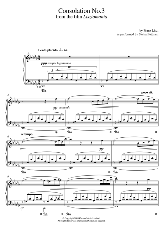 Consolation No.3 In D Flat (as performed by Sacha Puttnam) Sheet Music