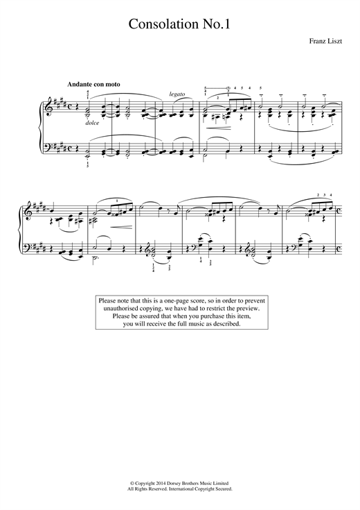 Consolation No.1 Sheet Music