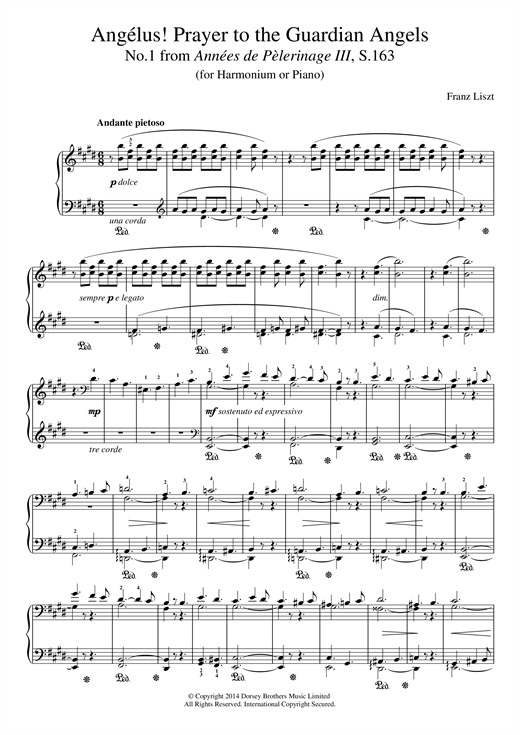 Partition piano Annees De Pelerinage III, No.1 de Franz Liszt - Piano Solo