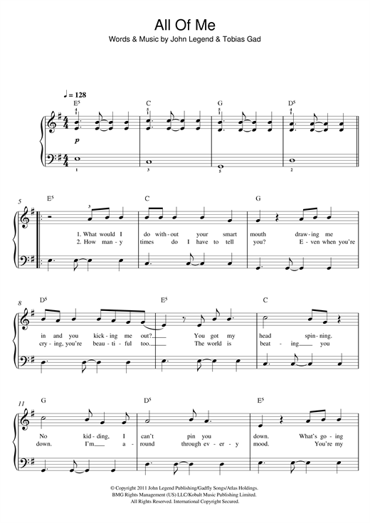 All Of Me piano sheet music by John Legend - Easy Piano