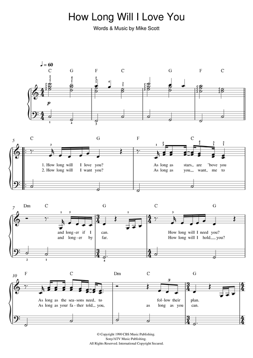 How Long Will I Love You Sheet Music By Ellie Goulding Easy Piano