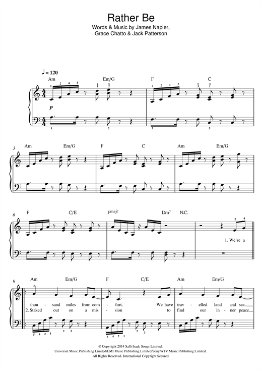 Rather Be (feat. Jess Glynne) Sheet Music