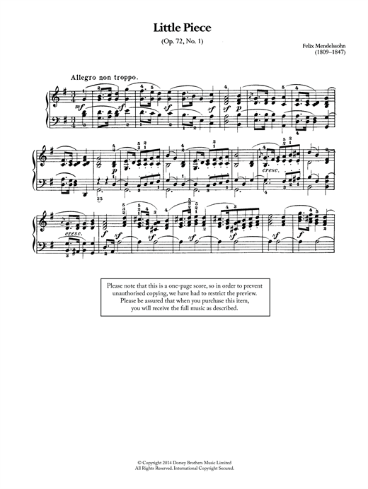 Little Piece, Op.72 No.1 Sheet Music
