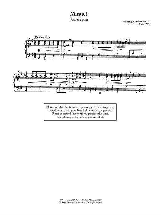 page one of Minuet (From 'Don Juan')ASALTTEXT
