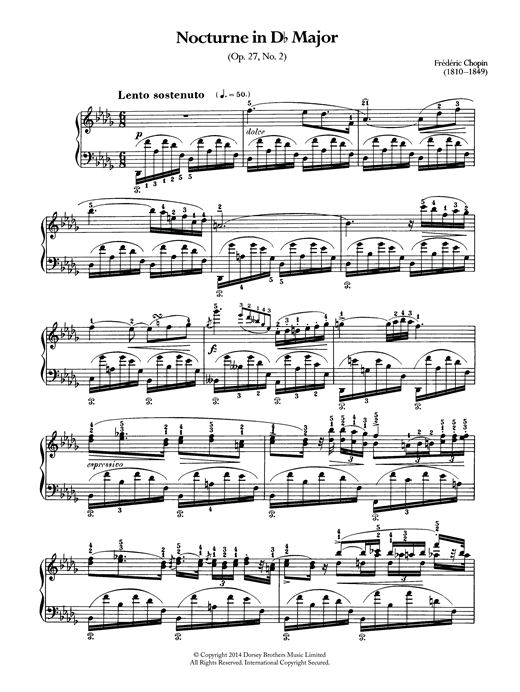 Partition piano Nocturne In D Flat Major, Op.27 No.2 de Frederic Chopin - Piano Solo