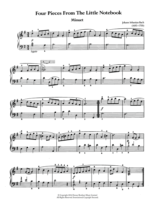 Four Pieces From The Little Notebook Sheet Music