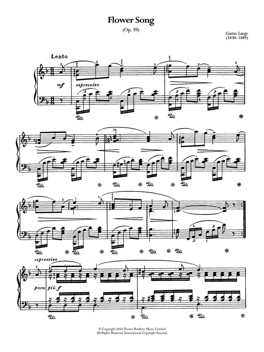 Partition piano Flower Song Op.39 de Gustav Lange - Piano Solo