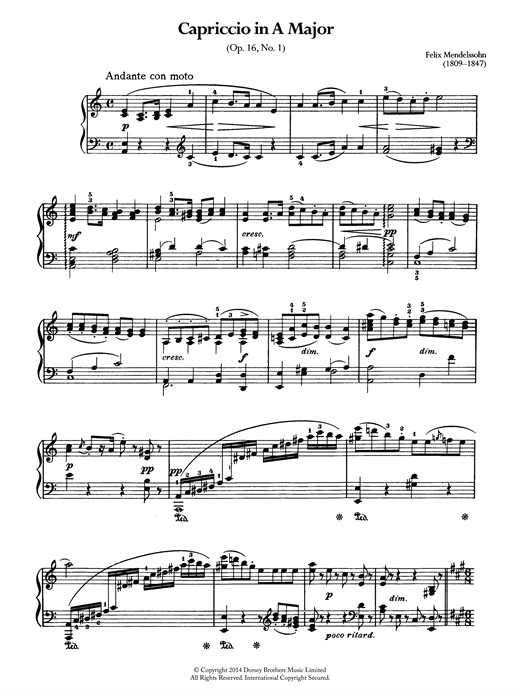 Partition piano Capriccio In A Major de Felix Mendelssohn - Piano Solo