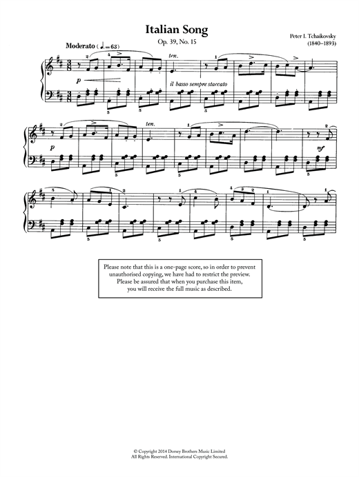Italian Song, Op.39 No.15 Sheet Music