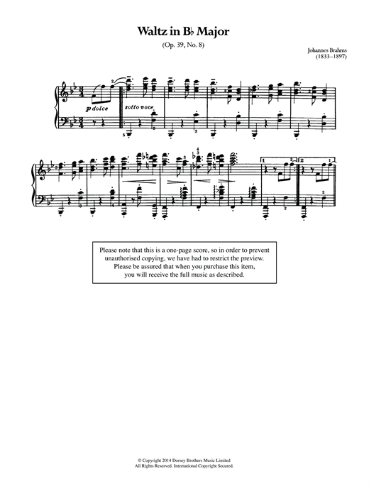Waltz In B Flat, Op.39 No.8 Sheet Music