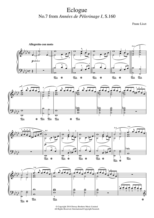 Partition piano Annees De Pelerinage, No.7 de Franz Liszt - Piano Solo