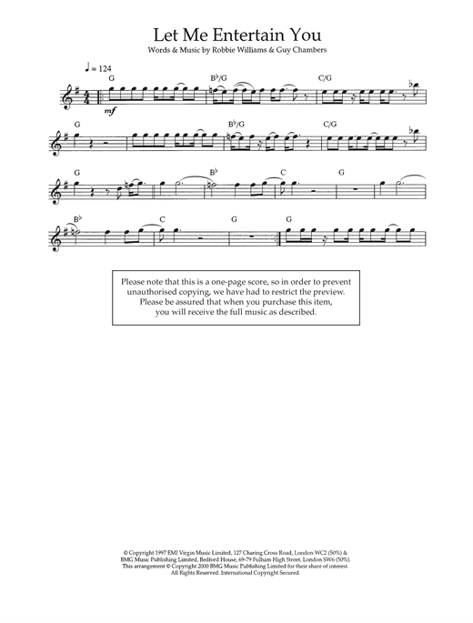 Let Me Entertain You Sheet Music