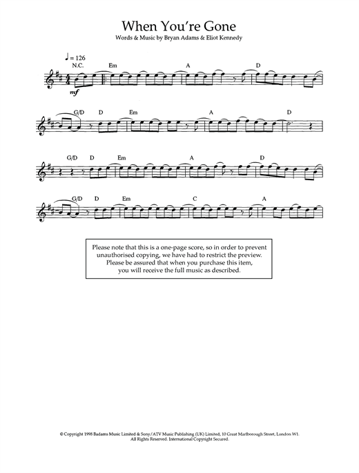 When You're Gone Sheet Music