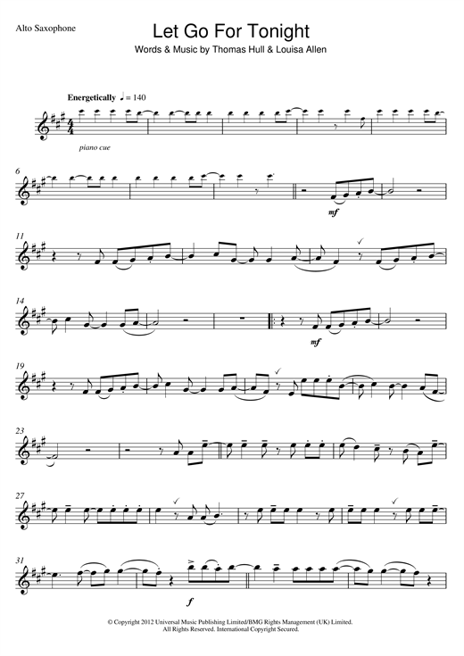 Let Go For Tonight Sheet Music