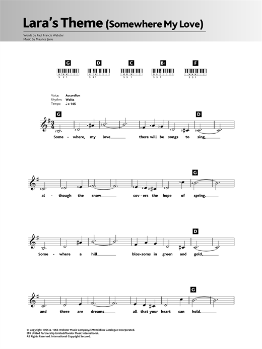 Somewhere My Love (Lara's Theme) Sheet Music
