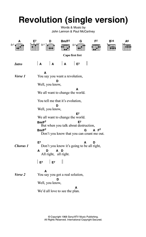 Revolution (Single Version) Sheet Music