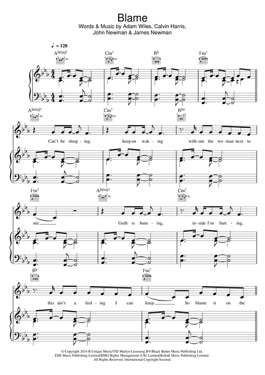 Blame (feat. John Newman) Sheet Music