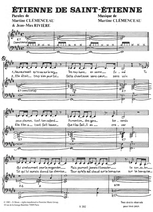 Etienne De Saint-Etienne Sheet Music