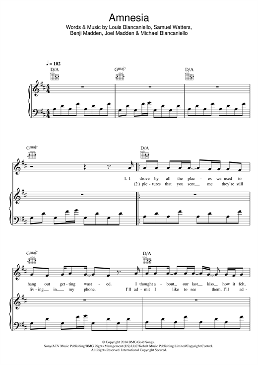 Amnesia Sheet Music