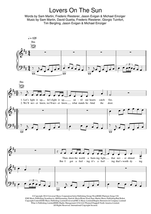 Lovers On The Sun (feat. Sam Martin) Sheet Music