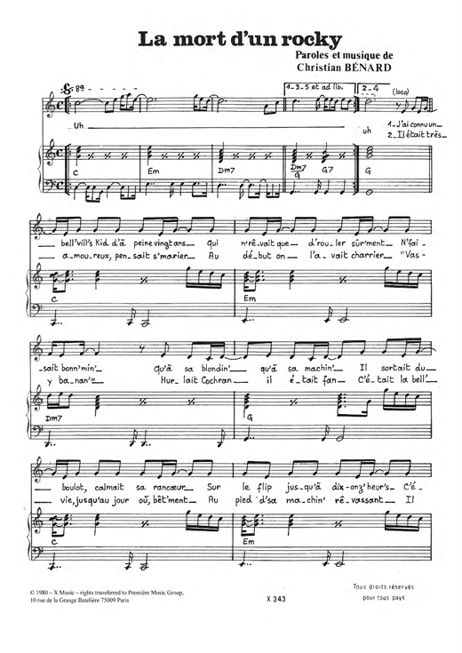 La Mort D'un Rocky Sheet Music